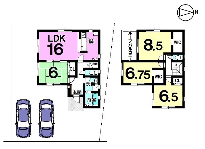 【間取り】   1号棟    4LDK 駐車スペース  2台分
