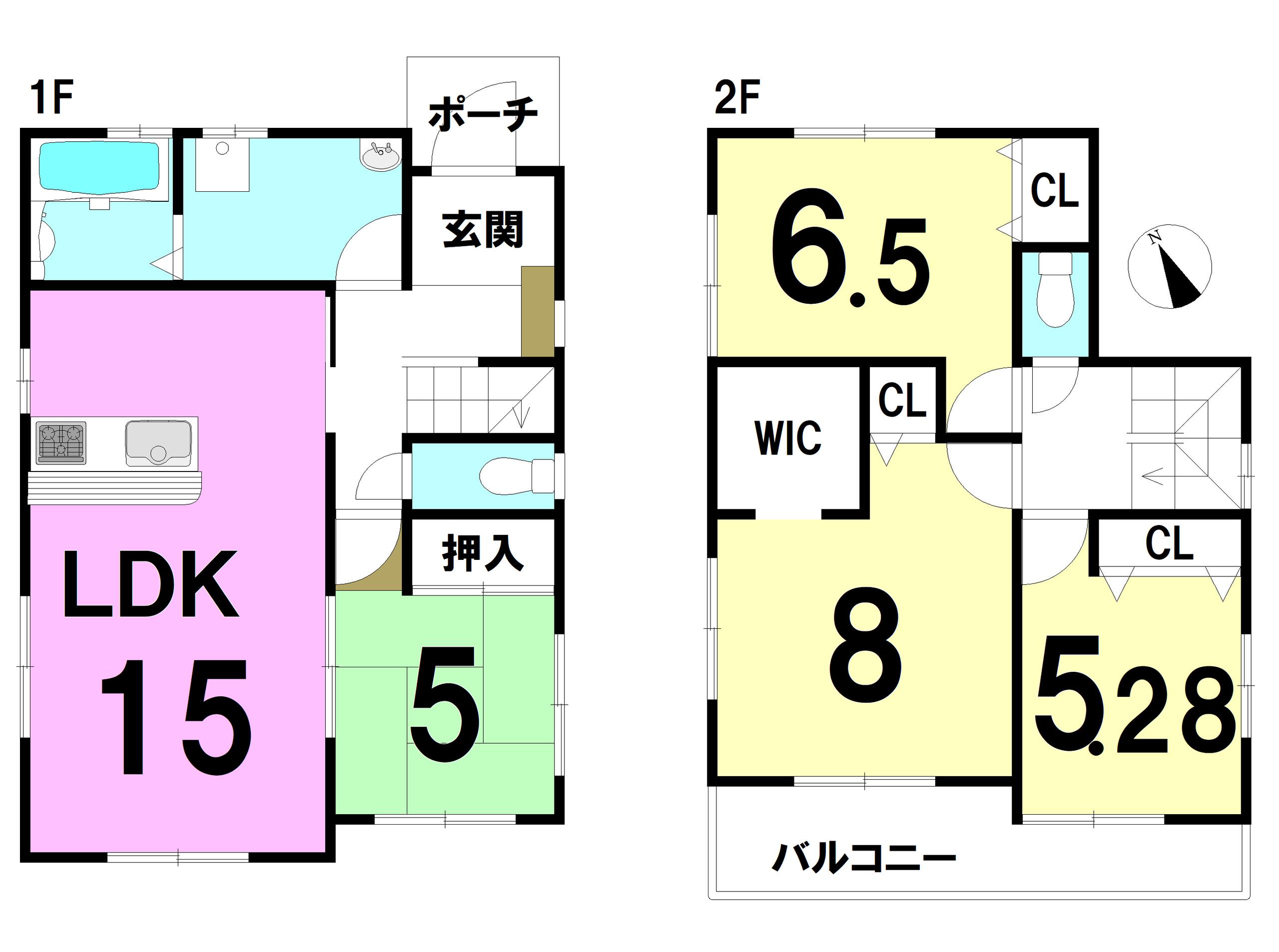 【間取り】 4LDK 1F:15LDK 5和 2F:8洋 6.5洋 5.28洋 WIC