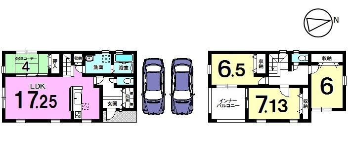 【間取り】 全室6帖以上の広さを確保したゆとりある間取り。 1階は畳コーナーを合わせて21.25帖の 大きな空間です。 人気のリビング階段を採用し、ご家族の 会話がはずむおうちです。