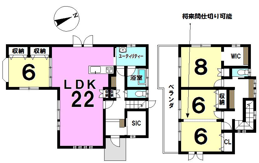 【間取り】 ▼3LDKから4LDK変更も可◎◎ ▼広々したリビングスペース(約22帖) ▼各居室収納スペース、他収納スペース充実しております◎◎