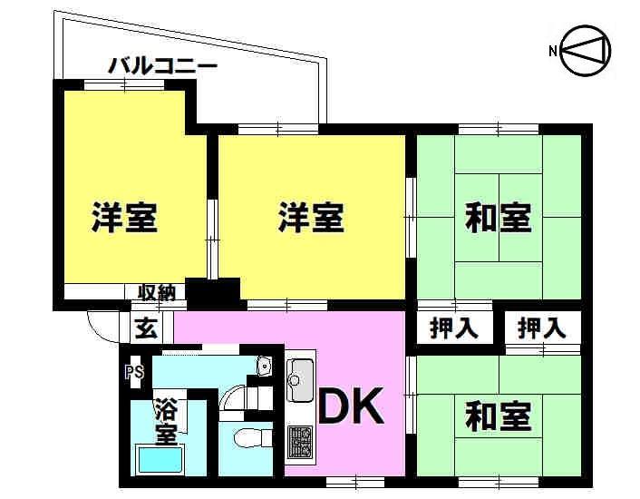 【間取り】 4DK