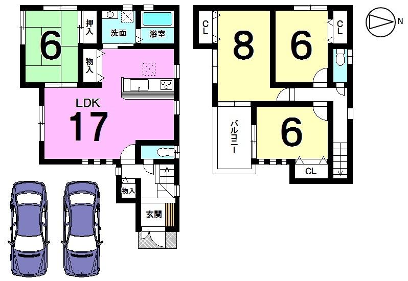 【間取り】 17帖の広々としたLDKは是非ご覧頂きたい ポイントです。 全室に収納スペースを確保しております。 並列で2台駐車可能です。