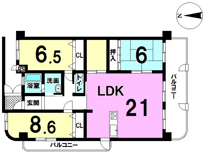 【間取り】 角部屋でとても広いお家です。