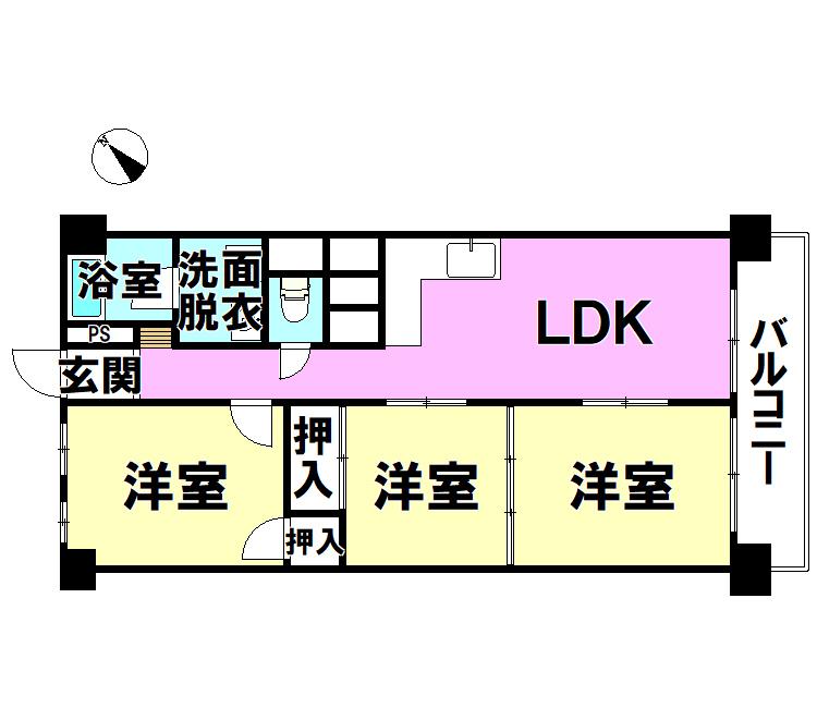 【間取り】 富野サマリヤマンション705号室(3LDK)