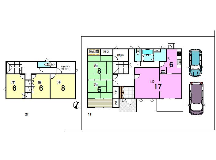 【間取り】 ・全居室6帖以上の5LDK ・土地面積83.24坪 ・これだけ広いとお庭でガーデニングや家庭菜園も楽しめますね。 ・駐車スペースも2台確保、来客時にも便利