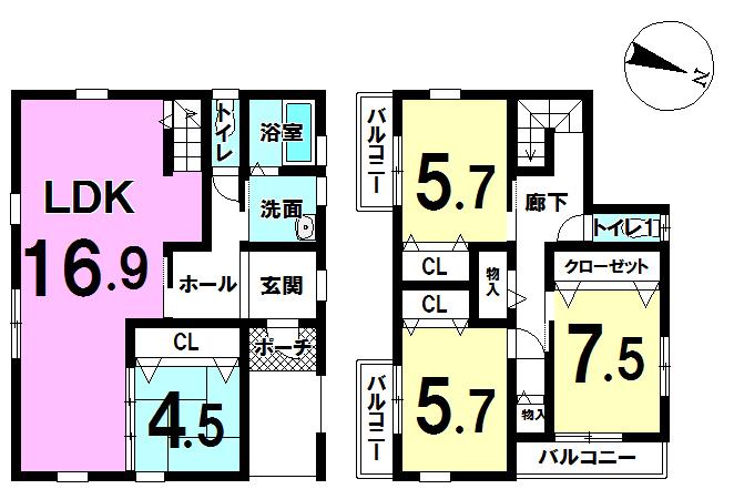 【間取り】 人気の4LDK! 各居室に収納を完備。1階に4.5帖の和室がありますので、急な来客などに役立ちます!