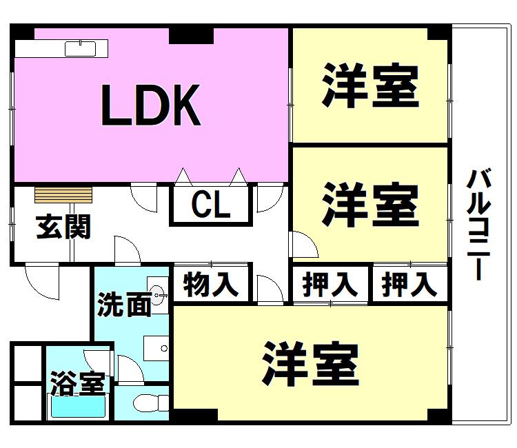 【間取り】 グランドハイツ三萩野 1002号室(3LDK)