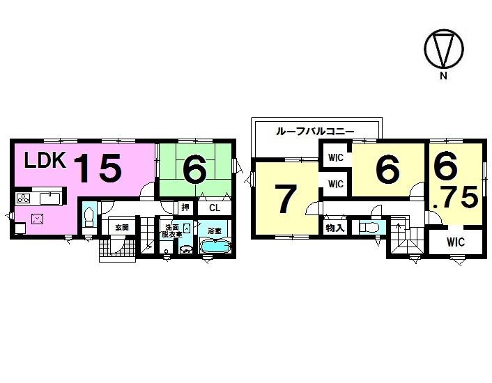 【間取り】 4LDK+3WIC 駐車4台可