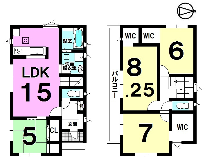 【間取り】 4LDK+3WIC 駐車3台可