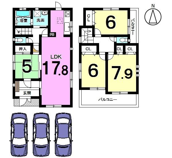 【間取り】 2階洋室は全てのお部屋にバルコニーがございます。 南向きの明るいおうち。 駐車3台可能です。