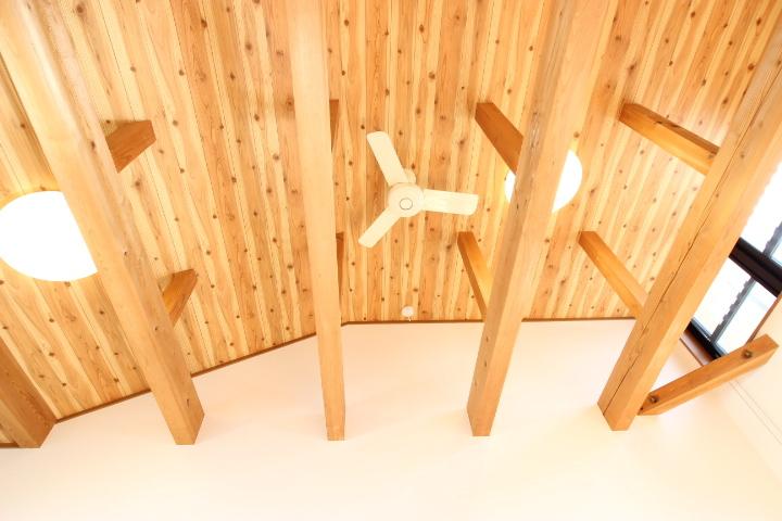 木の温かみのある天井にはシーリングファンが備わっています