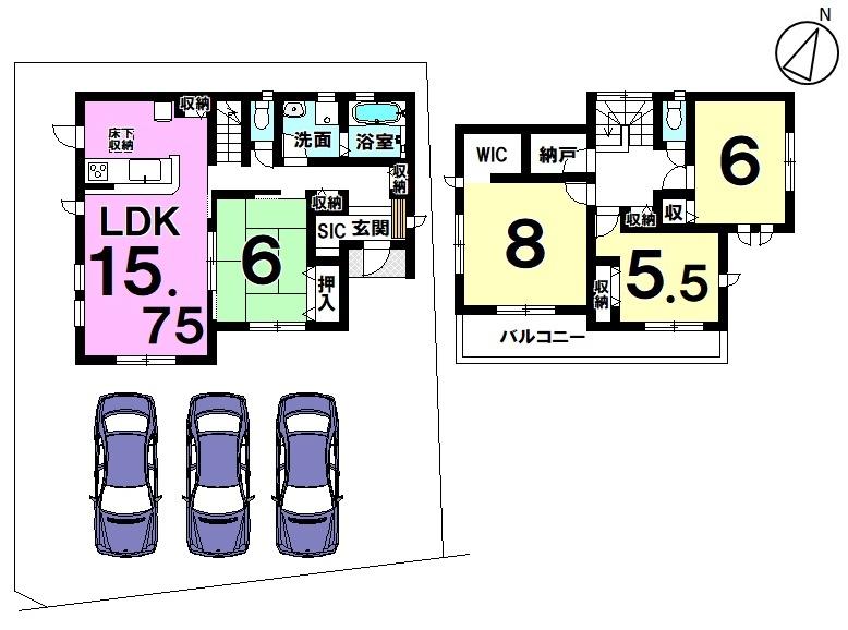 【間取り】 新築戸建 知多市八幡字笹廻間 駐車場3台 4LDK