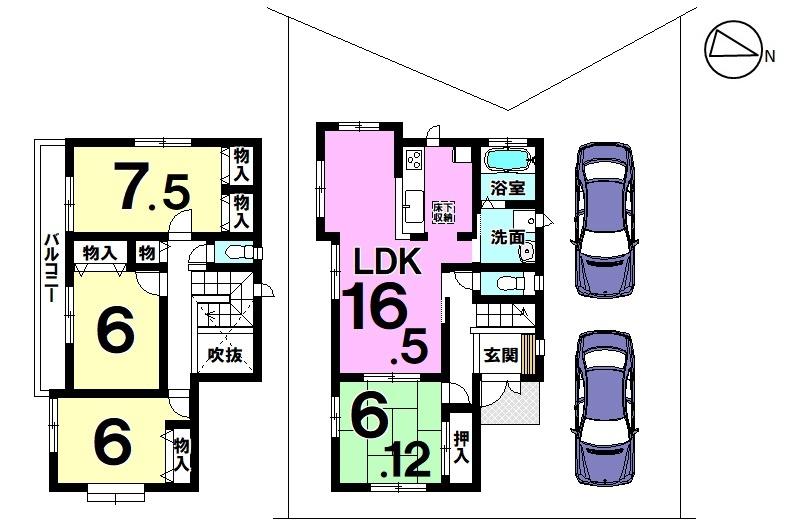 【間取り】 1号棟4LDK 駐車スペース2台分
