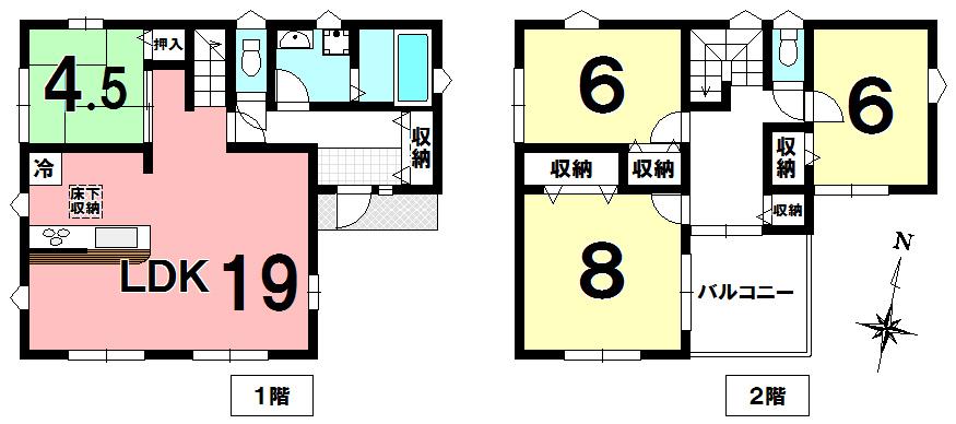 【間取り】 東大輪の新築分譲住宅です。不動産仲介はハウスドウ久喜店にお任せ下さい。