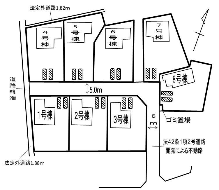 配置図  東大輪の新築分譲住宅です。JR宇都宮線「東鷲宮」駅徒歩11分。 カースペース2台可能、床下収納2カ所(キッチン・洗面所)