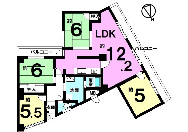 【間取り】 南向きバルコニー、2LDKの明るいお部屋です。 ご夫婦や単身世帯のお客様におススメの物件。 JR高田駅・近鉄大和高田駅へ徒歩10分以内の 便利な立地です。即入居可能!!