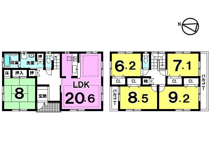 【間取り】 5LDK 駐車普通2台軽1台可 角地 全居室収納