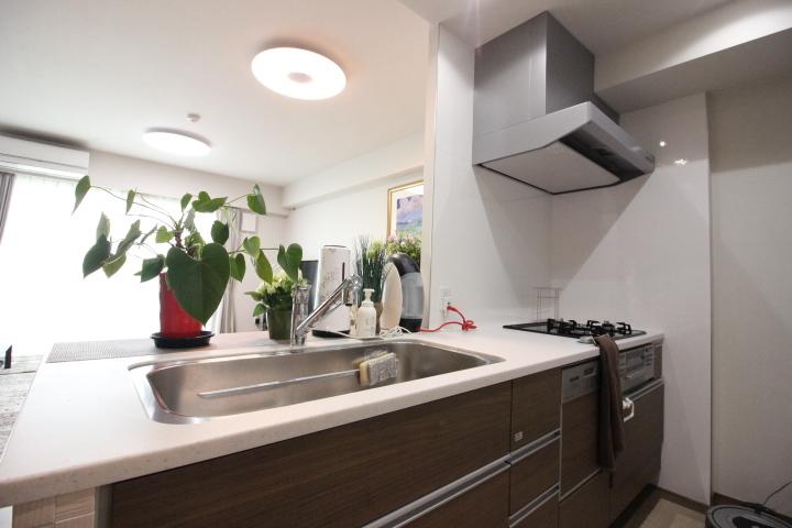 キッチン背面にカップボードを配してもゆったりのスペースです。リビングを見渡せる対面カウンター!