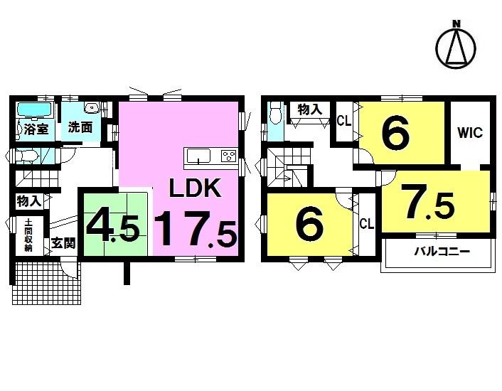【間取り】 4LDK+WIC+土間収納 駐車3台可 全居室収納 オール電化