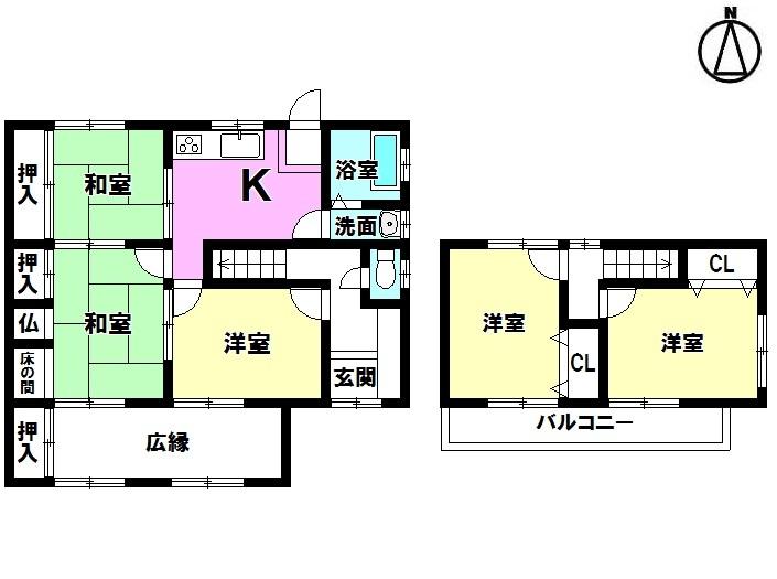 【間取り】 ・駐車3台可能 ・5DK