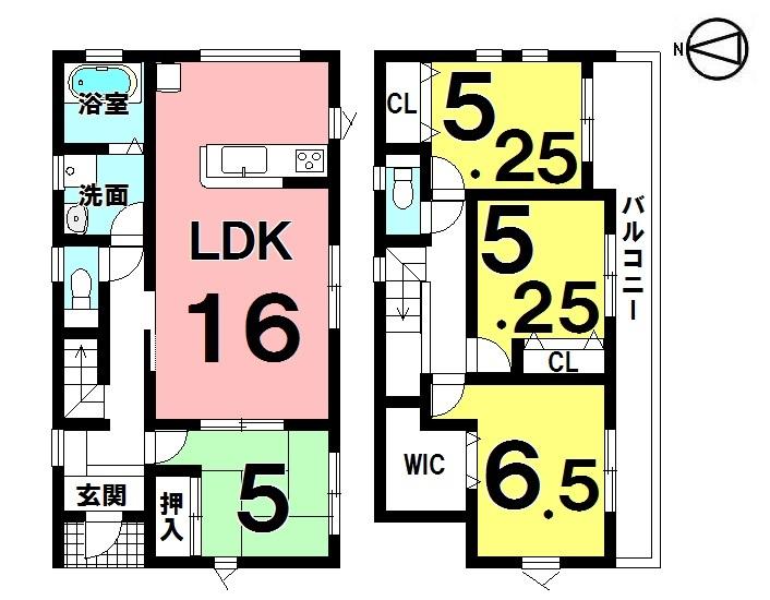 【間取り】 4LDK+WIC 駐車3台