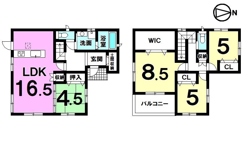 【間取り】 全室に収納スペースを確保した ゆとりある間取りです。 周辺は車通りが少なく静かな環境。 即入居可能!!