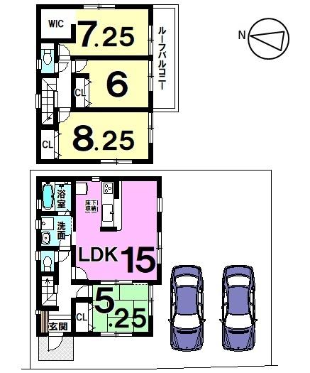 【間取り】 知多市新舞子北畑 1号棟    4LDK 駐車スペース  2台分