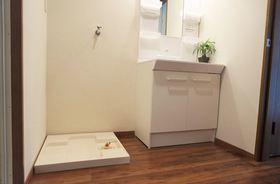 洗面所、洗濯パンは1階にあります。思いっきり汚れても玄関から直接行けるのはママの味方ですね♪