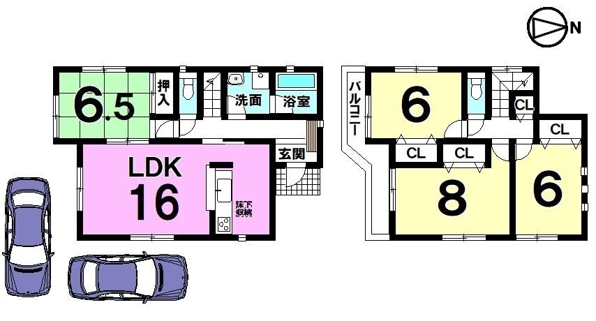 【間取り】 全室6帖以上のゆとりある間取りです。 南向きバルコニーの明るいおうち。 駐車スペースも2台分を確保しました。