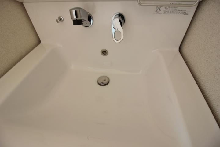 洗髪もできるシャンプードレッサーは、洗面ボウルが大きめにできています。お手入れもらくらく。