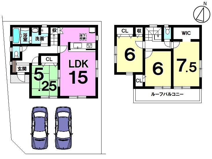 【間取り】   2号棟    4LDK 駐車スペース  2台分