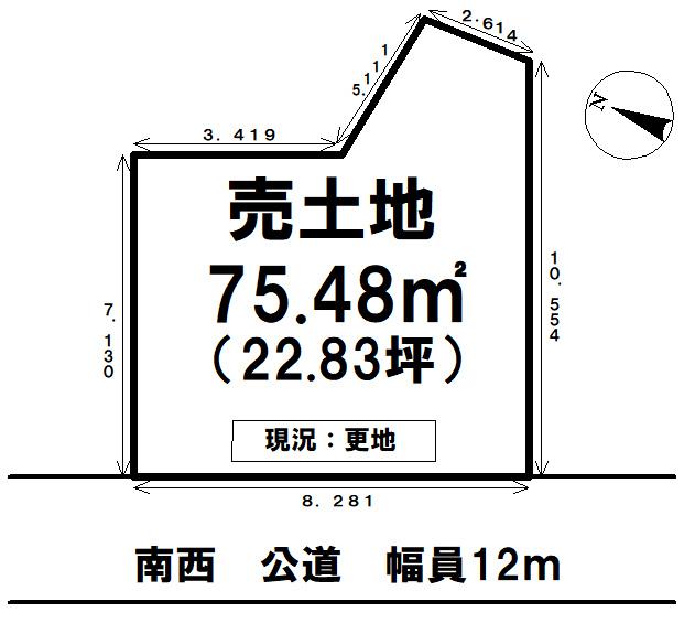 【区画図】 葛飾区細田1丁目 売土地の間取り図です。