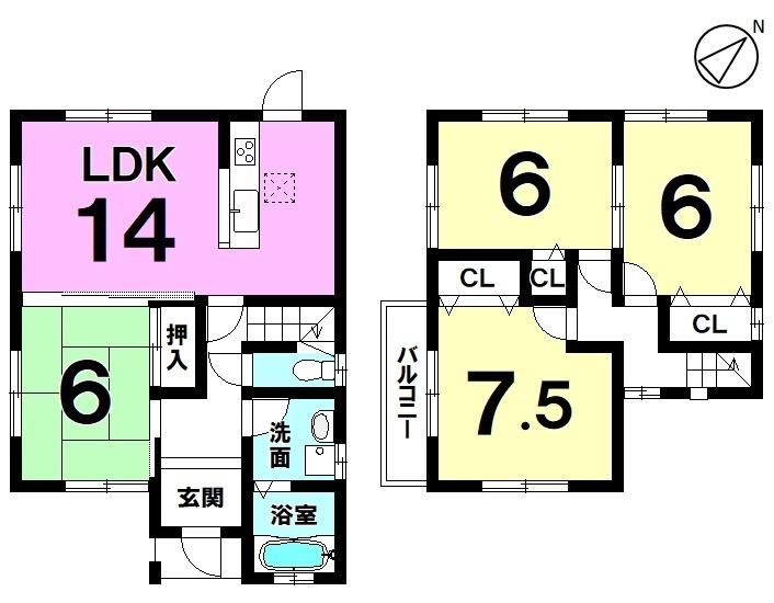 【間取り】 平成23年7月築・4LDK・駐車2台可・南東側前道6m・フレンドマート上笠店まで徒歩8分(約620m)の立地