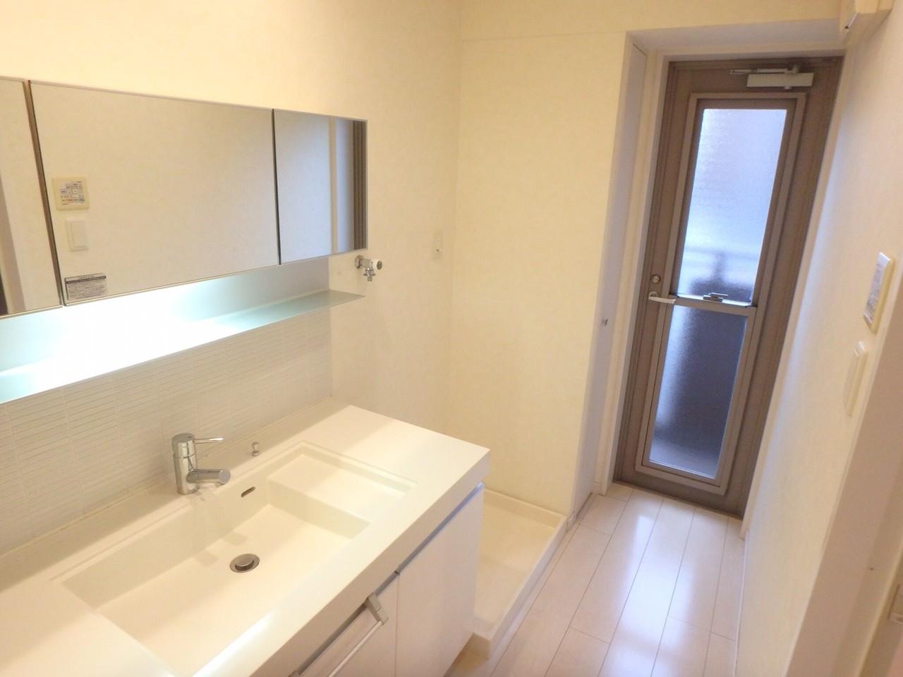 一般的な洗面台とはちょっと形が違っていてオシャレですね。 収納付き鏡で収納力抜群!!