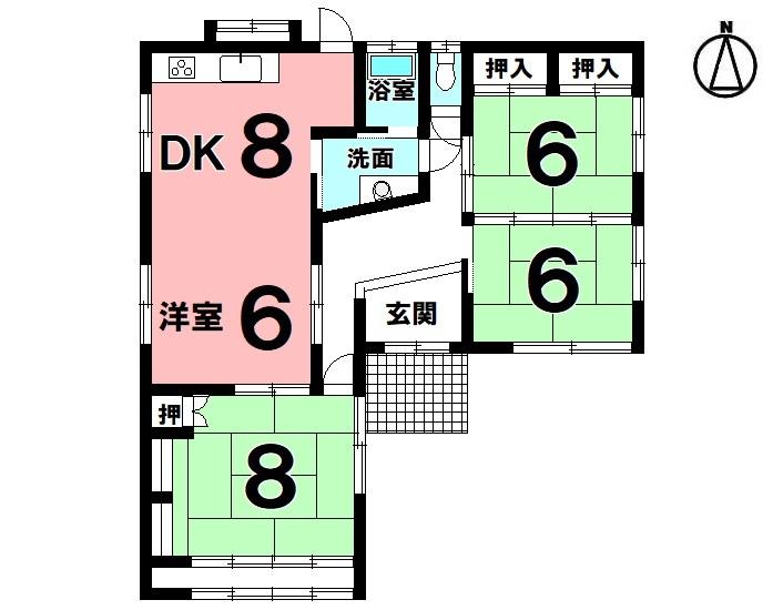 【間取り】 4DK 駐車3台可 オール電化 平成29年10月リフォーム済