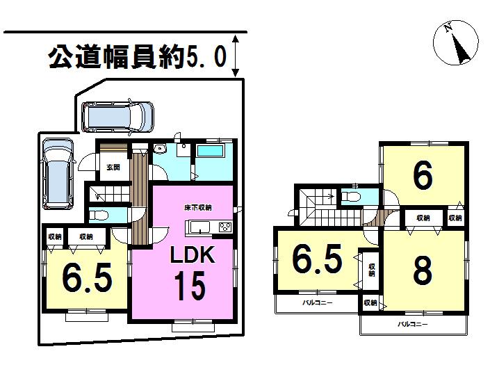 【間取り】 LDK15帖♪オールフローリング!全居室6帖以上、梅郷地区でゆったりとした生活を♪