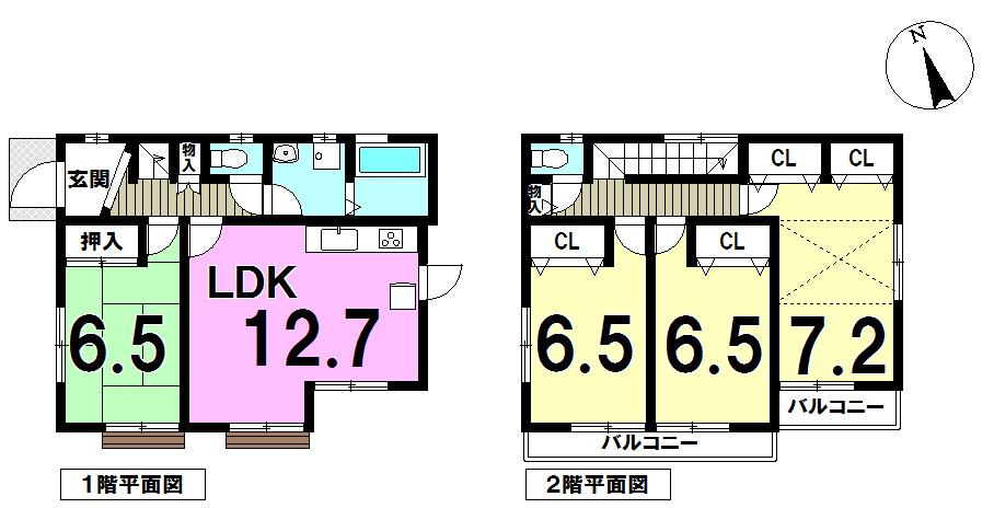【間取り】 土地面積約121.24㎡、各部屋収納付。2階には小屋裏収納もついています。 どの部屋をどう使おう、インテリアはどうしよう、想像するだけでわくわくしちゃいますね。