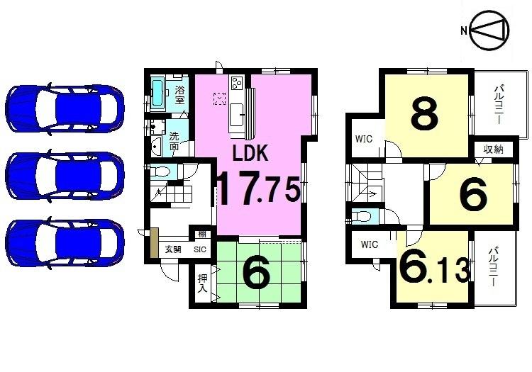 【間取り】 全室6帖以上の広さを確保した ゆとりある間取り。 2室にバルコニーを設置した明るい おうちです。並列で3台駐車可能!