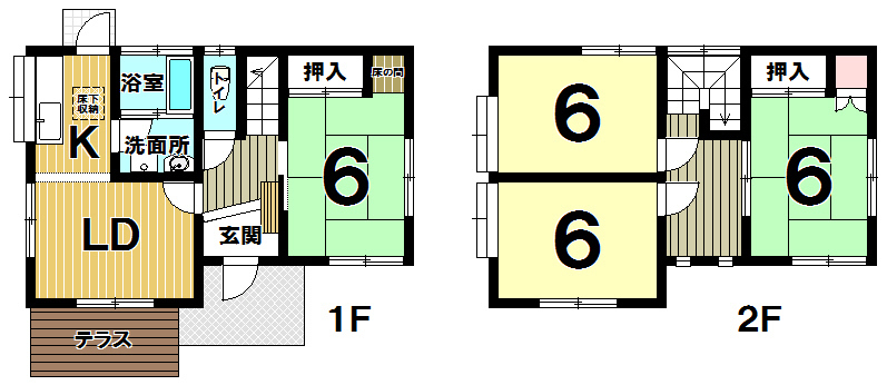 【間取り】 北九州市小倉南区下吉田3丁目♪平成3年築 土地63坪!駐車場は車種により3台可能♪西鉄バス「下吉田団地第二」停 徒歩4分♪4LDK♪閑静な住宅地♪室内程度も良好ですよ。