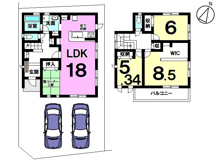 【間取り】  1号棟 3LDK 駐車スペース  2台分