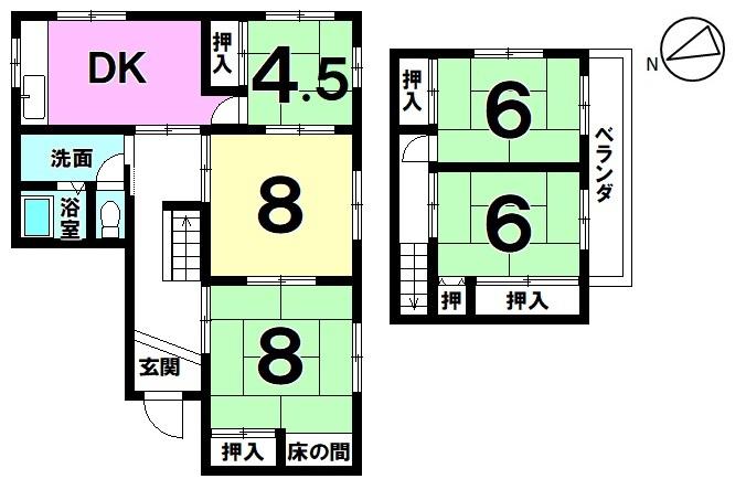 【間取り】 間取り図 5DK