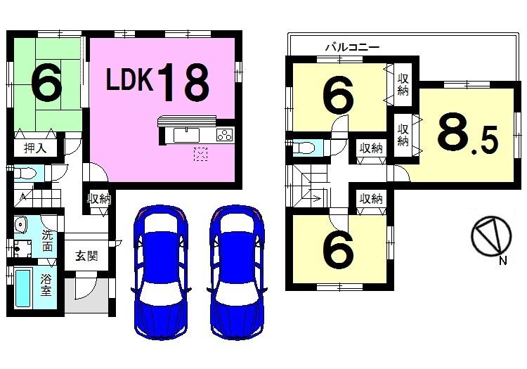 【間取り】 18帖の広々LDKが自慢のおうちです。 2室から出入りできる大きなバルコニーから 日差しがたっぷり入ります。 月々5万円台のお支払いで購入可能です!
