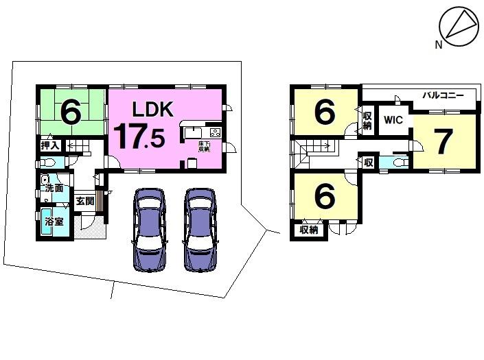 【間取り】 5号棟 4LDK 駐車スペース2台分