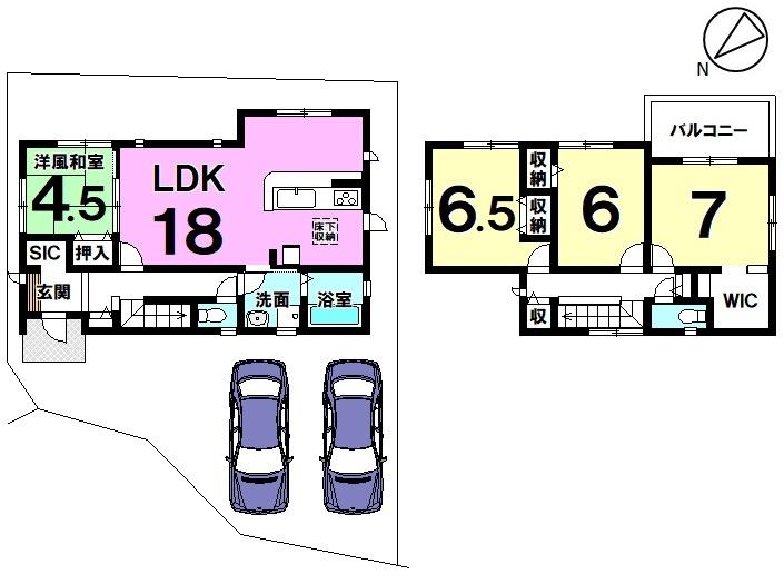 【間取り】 6号棟4LDK 駐車スペース2台分