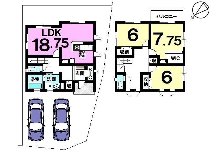 【間取り】 7号棟3LDK 駐車スペース2台分