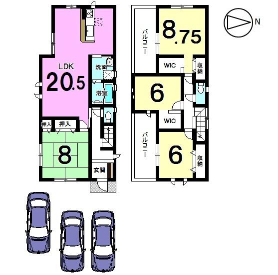 【間取り】 8帖の和室がおススメポイントの物件です! LDKも20.5帖の広さを確保しております。 全室南向きの明るいおうち。 駐車スペースも3台分ございます。