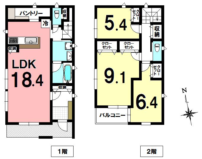 【間取り】 ペットと楽しく暮らすお家をコンセプトにした新築住戸です。 全棟南向き(A号棟・B号棟)