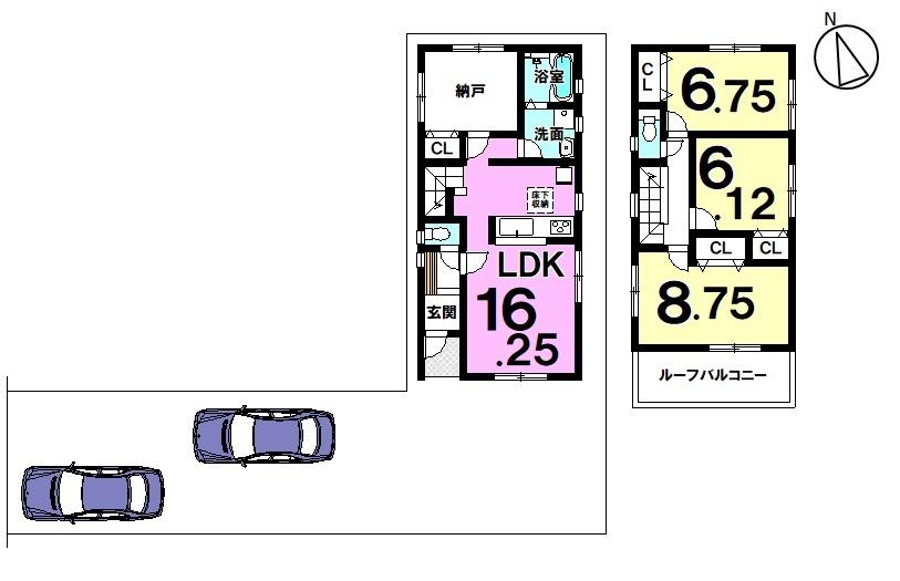 【間取り】 2号棟 3SLDK 駐車スペース2台分