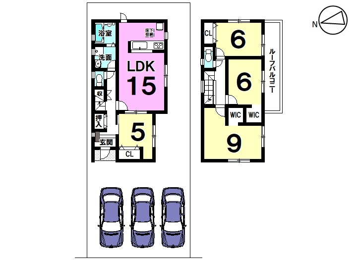 【間取り】 4号棟 4LDK 駐車スペース3台分