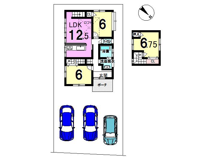 【間取り】 大規模改修工事のリノベーション住宅です。 駐車場も3台可能です。